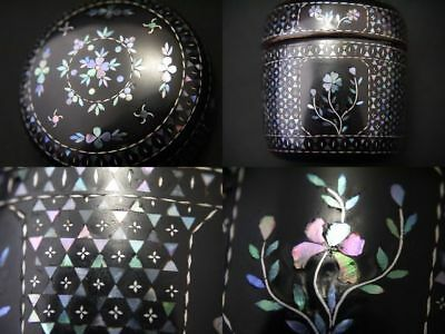 Japanese Traditional Lacquer Wooden Tea Caddy Mother-of-pearl work Natsume (912)