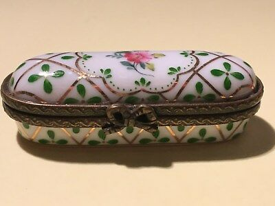 Limoges style hairpin trinket box , see the scans!