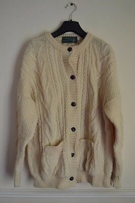 Aran Mix Wool Button Front Cardigan Jumper Color Cream.