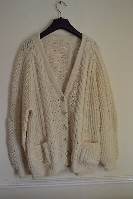 Aran button front Cardigan Jumper Wool Cream Vintage Knitted Sweater