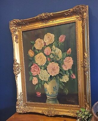 Signed Still Life Oil Painting Of Flowers In Case  With Gilt Frame