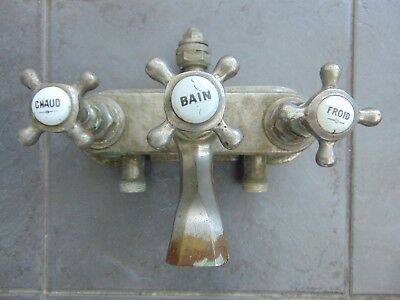 Antique Vintage French Chromed Brass Wall Mounted Bath Mixer Tap Ceramic Inserts