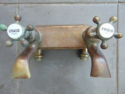 Antique Vintage French Brass Wall Mounted Bath Tap With Ceramic Inserts