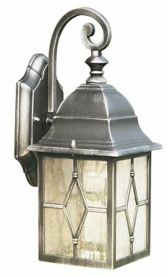 Genoa Black & Silver Outdoor Garden Wall Light & Lead Glass - Searchlight 1642
