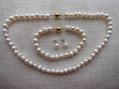 "Cultured Pearl Necklace + Bracelet + Earrings Sets 7/8mm; from 15 1/4"" -18"" long"