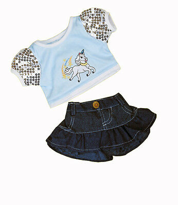 "Unicorn top denim skirt outfit teddy clothes fits 15"" Build a Bear"