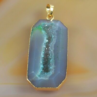 Green Agate Druzy Geode Faceted Pendant Bead Gold Plated T047039