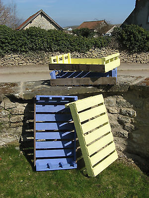 Potato Chitting trays - wooden, clean, painted blue or yellow, picnics, fetes