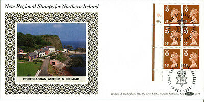 3 DEC 1991 24p N IRELAND DEFINITIVE CYL BLK 6 BENHAM D 178 FIRST DAY COVER SHS