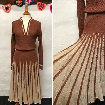 STUNNING VINTAGE KNIT DRESS BROWN BEIGE FLARED SKIRT 30s 40s STYLE 70s SIZE 8-10