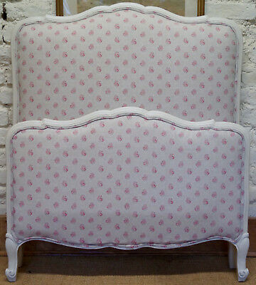 French Vintage Single Bed upholstered in KATE FORMAN Agatha