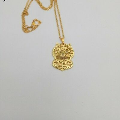 Carin Terrier Dog Pendant Necklace Gold Tone ANIMAL RESCUE DONATION