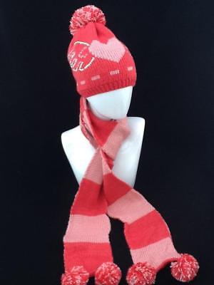 Ladies 2 Tone Pink Winter Hat And Scarf Set With Pom Pom Code: Whspnk05