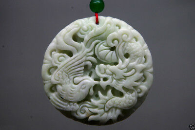 Chinese Natural jade carved lucky Dragon phoenix jade pendant amulet -