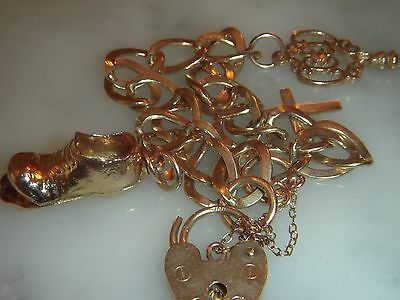 A Beautiful Solid 9 Ct Gold Fancy Link  Charm Bracelet With Padlock Clasp