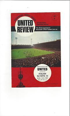 Manchester United v Italian Olympic X1 Friendly 1967/68 Football Programme
