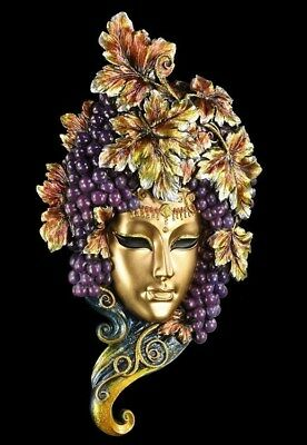 Venetian Mask - Bacchus - Wall Decorative Figurine Face Grapes