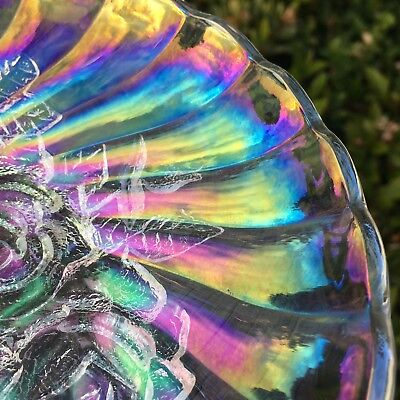Gorgeous Vintage Opalescent Glass Serving Bowl Rainbow Carnival Clear  Dish