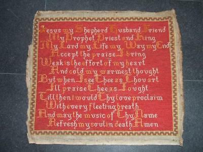 """Victorian  Embroidered Sampler""""Bride of Christ"""" Made by a Nun ? Size 19x22ins"""