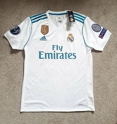 2017-18 Real Madrid Home Shirt Player Fit Adidas Climacool Size L