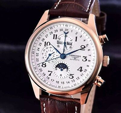 Preowned w/o Box Authentic Men's Longines White Face w/Brown Leather Band Watch