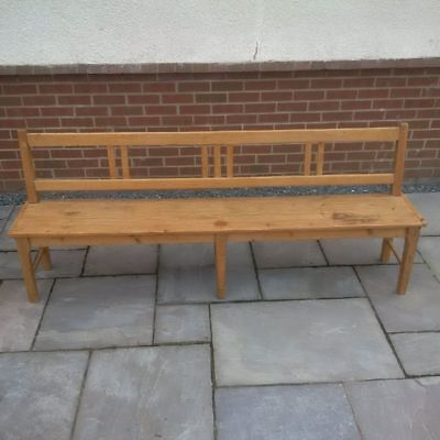 Antique Rustic Pine Bench Settle Pew Country Hall Farmhouse Seat Dining Kitchen