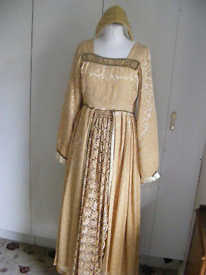 Vintage theatrical Tudor Period costume dress & French Hood yellow brocade s12