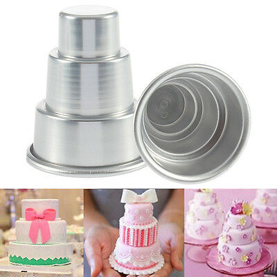 DIY Mini 3-Tier Cupcake Pudding Chocolate Cake Mold Baking Pan Mould Party Alloy