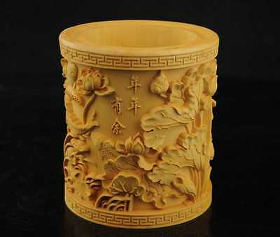 natural wood hand-carved Lotus  & fishes sculpture brush pen pot Very fine  LL