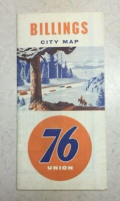 76 UNION OIL GAS - 1950s 1960s Vintage CITY ROAD MAP - BILLINGS MONTANA