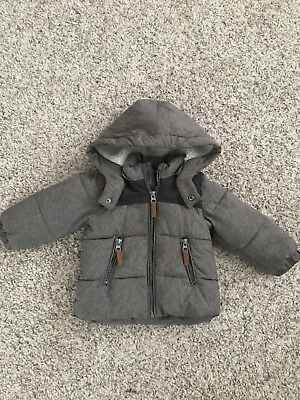 Baby Boys 9-12 Months H&M Grey Padded Winter Coat Jacket