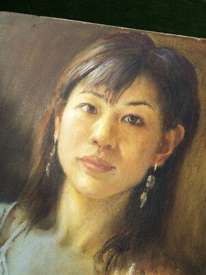 Original Oil on Canvas Painting Portrait of Asian Chinese Girl Vintage 1930s 40s