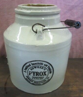 Antique BOWKER'S POISON Crock Jug Insecticide Fungicide Boston Baltimore Cinn