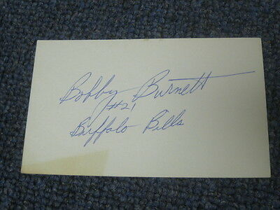 Bobby Burnett Autographed Index Card Buffalo Bills