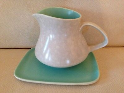 Poole Twintone Pottery - Ice Green & Seagull C57 - Milk Jug and Stand