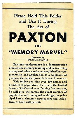 Paxton Memory Marvel Audience Folder Vaudeville Act Ripley's Believe It Or Not