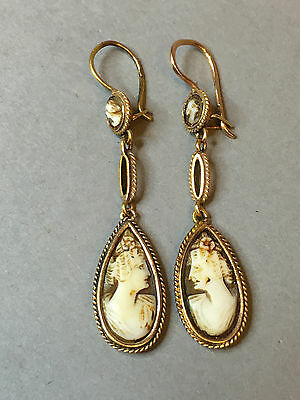 RARE ART DECO ANTIQUE RUSSIAN 14k GOLD 583 EARRINGS WITH NATURAL SHELL CAMEO