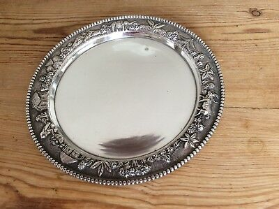 Sterling Silver Flat Dish Embossed Decoration Approx 180 Gms Keep Or Scrap