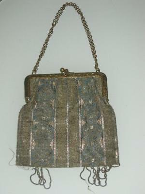 Antique French Made Heavy Metal Micro Bead Bag