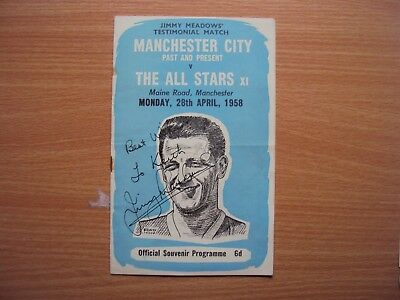 11958 MANCHESTER  CITY  v.  ALL  STARS  JIMMY MEADOWS TESTIMONIAL AUUTOGRAPHED