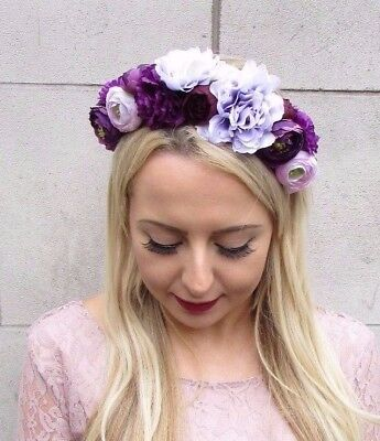 Dark Purple Lilac Flower Headband Hair Crown Floral Flower Rose Peony Boho 4244