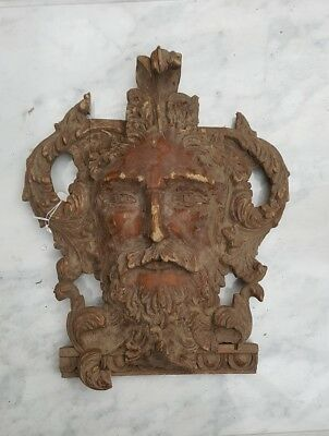 Stunning Hand Carved Wooden Gothic Old Man Face