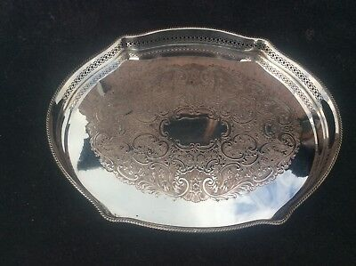 """Large Lovely Quality Silver Plated Pierced Gallery Tray Ball & Claw Feet 16.25"""""""