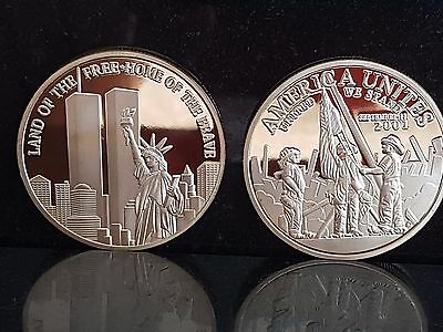 Gold Land of The Free Home Of the Brave twin towers remembrance coin 911 Trade