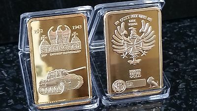 1 Oz German Reichsbank Stalingrad Tank Commemorative Gold Bar Ingot