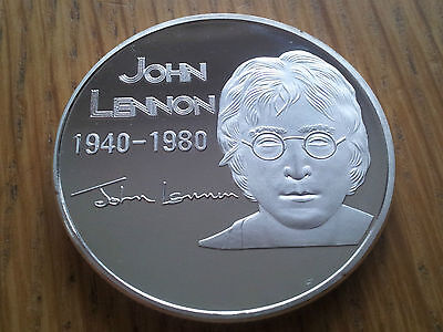 John Lennon Silver Give Peace a Chance signature Coin Medal Beatles Rock n Roll