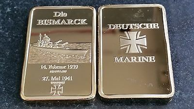 Die Bismarck 1939 German  Gold Bar Souvenir Deutche Marine Cross
