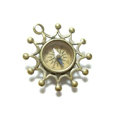 Beautiful Old Unusual Antique Victorian Ornate Compass Fob Pendant Charm (A15)