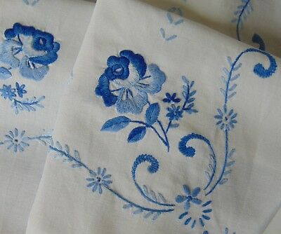 Vintage Raised Blue Rose Hand Embroidered Pure-Cotton Tablecloth Unblemished