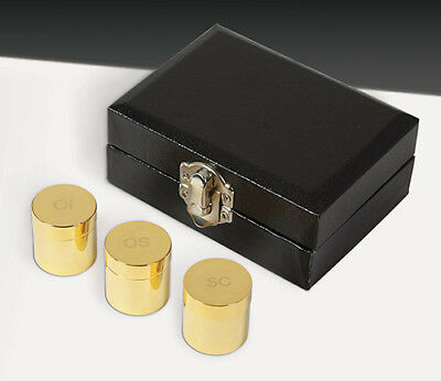 Holy Oil Stock Set of 3 in Case, Polished Brass